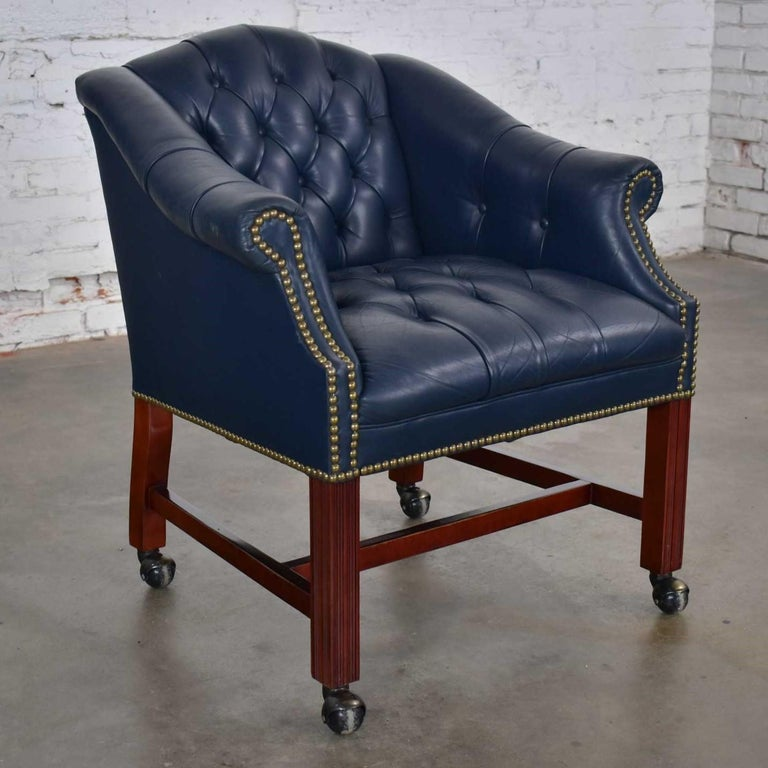 Unknown Blue Leather Rolling Captain's Chair Campaign Chippendale Style For Sale