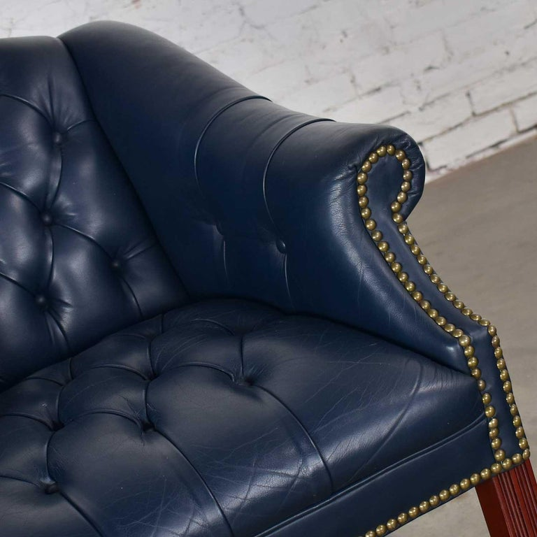 Blue Leather Rolling Captain's Chair Campaign Chippendale Style For Sale 1