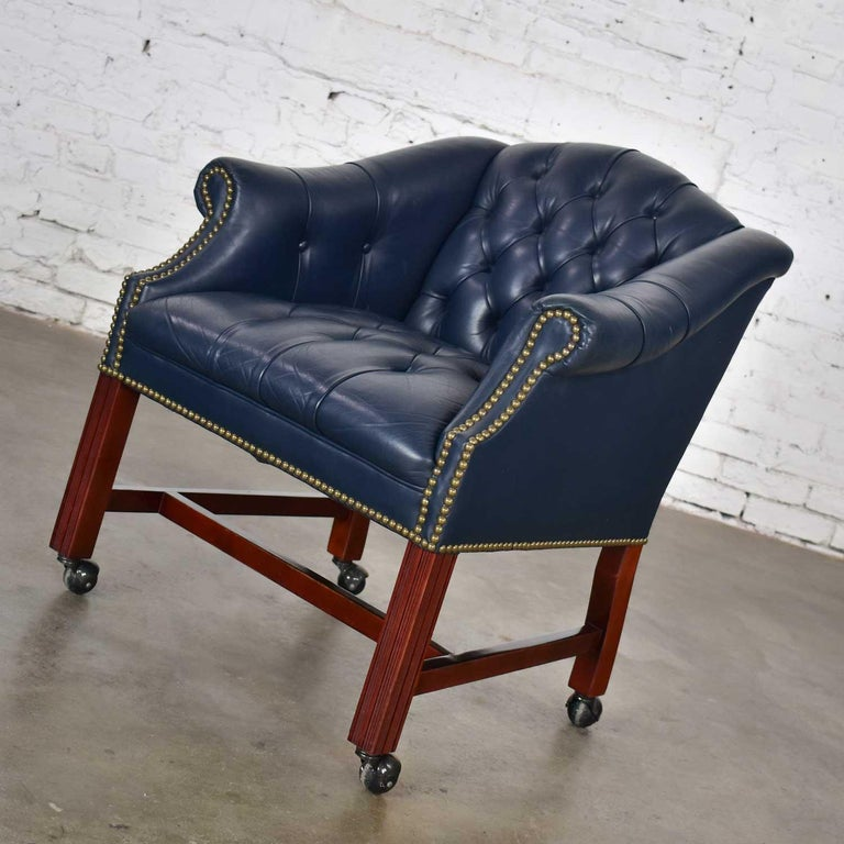 Blue Leather Rolling Captain's Chair Campaign Chippendale Style For Sale 2