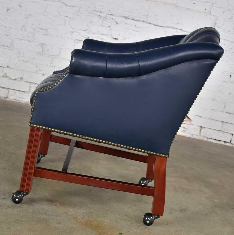 Blue Leather Rolling Captain's Chair Campaign Chippendale Style For Sale 3
