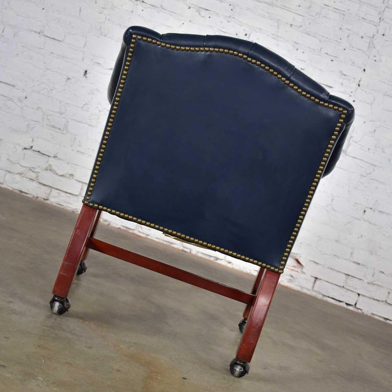 Blue Leather Rolling Captain's Chair Campaign Chippendale Style For Sale 4
