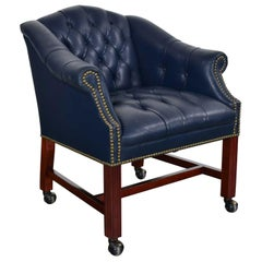 Blue Leather Rolling Captain's Chair Campaign Chippendale Style