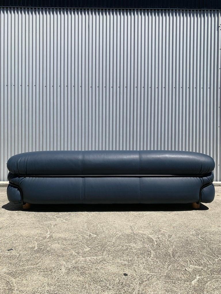 Italian Blue Leather Sessan Sofa by Gianfranco Frattini for Tacchini