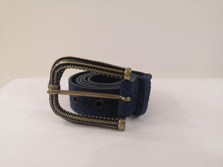 Blue leather suede belt NWOT totally made in italy one size total lenght 105 cm heigh 3 cm