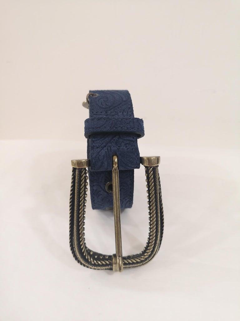 Black Blue leather suede belt NWOT For Sale