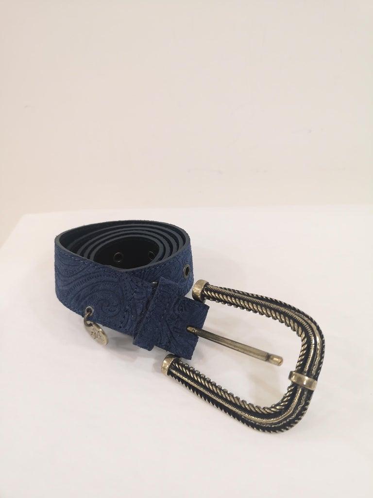 Women's or Men's Blue leather suede belt NWOT For Sale