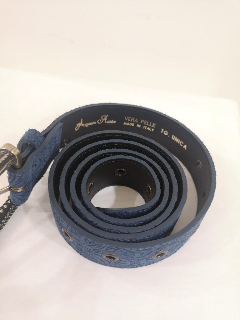 Blue leather suede belt NWOT For Sale 1