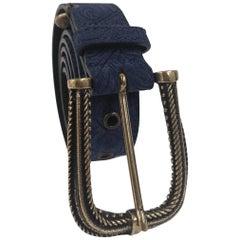 Blue leather suede belt NWOT