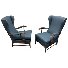 Blue Leather Wingback Lounge Chairs by Paolo Buffa, 1960s