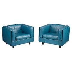 Blue Leather Zanotta Armchairs, Set of 2