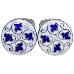 Blue Leaves White Setting Hand Enameled Sterling Silver T-Bar Back Cufflinks