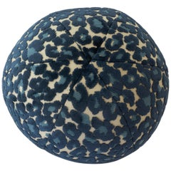Blue Leopard Velvet Ball Pillow