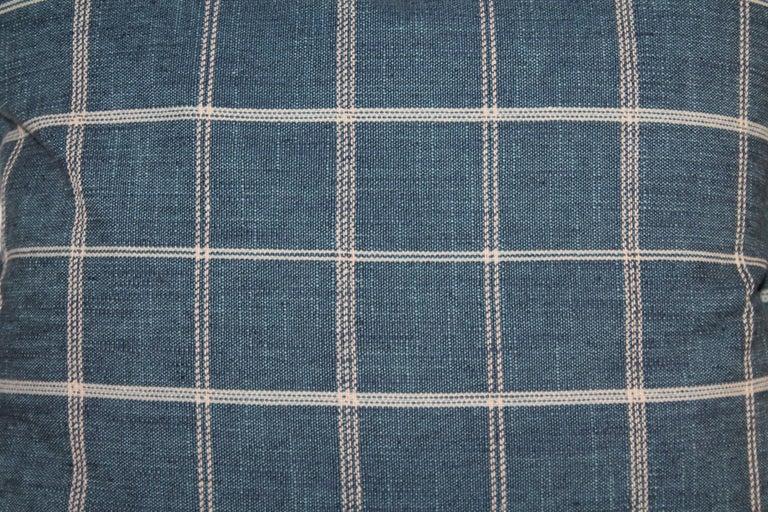 Adirondack Blue Linen Striped Pillows, Pair For Sale