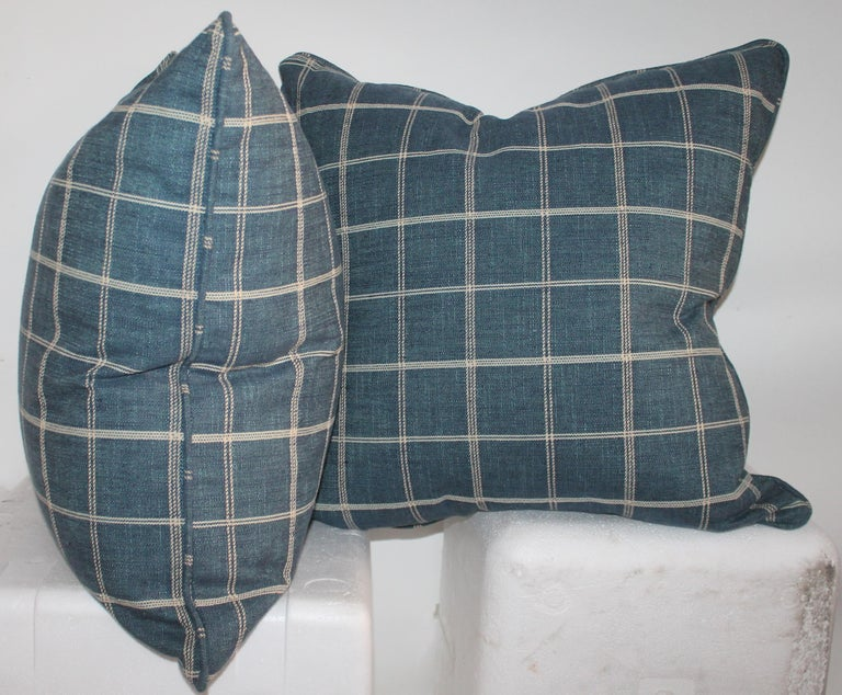 American Blue Linen Striped Pillows, Pair For Sale