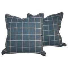 Blue Linen Striped Pillows, Pair