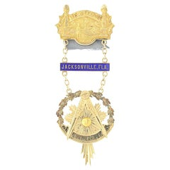 Blue Lodge Past Master Jewel, 14 Karat Yellow Gold Vintage Masonic Medal