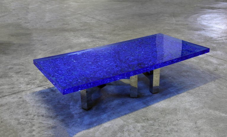 Polished Blue Lucite And Murano Glass Table Nickel Plated Brass Base