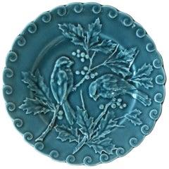 Blue Majolica Birds with Holly Plate Sarreguemines, circa 1880
