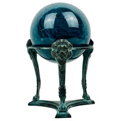 Blue Marble Orb or Sphere-Neo-Classical Patinated Tripod Stand with Lion's Faces