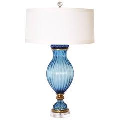Blue Marbro Italian Glass Lamp, circa 1950