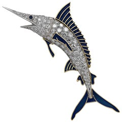 Blue Marlin Platinum and Diamond Brooch Pin