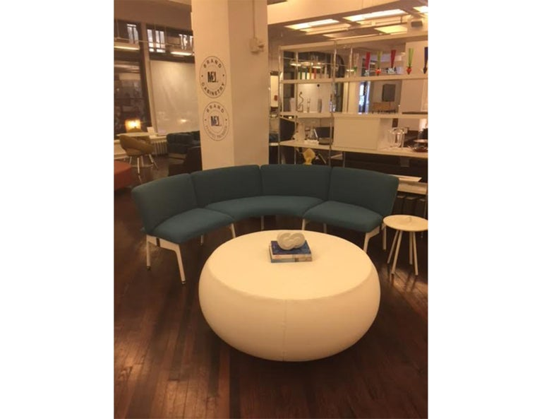Italian Blue Mega Bench with Back For Sale
