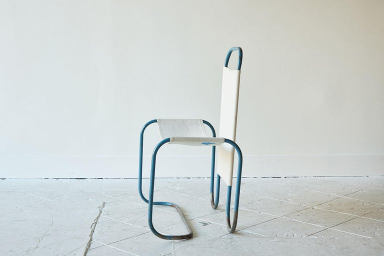 Blue Metal Bauhaus Sling Chair In Good Condition For Sale In Los Angeles, CA