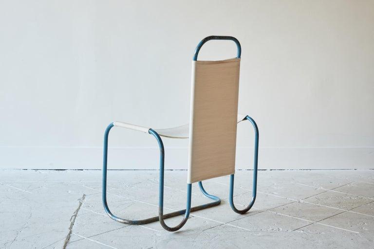 Blue Metal Bauhaus Sling Chair For Sale 1