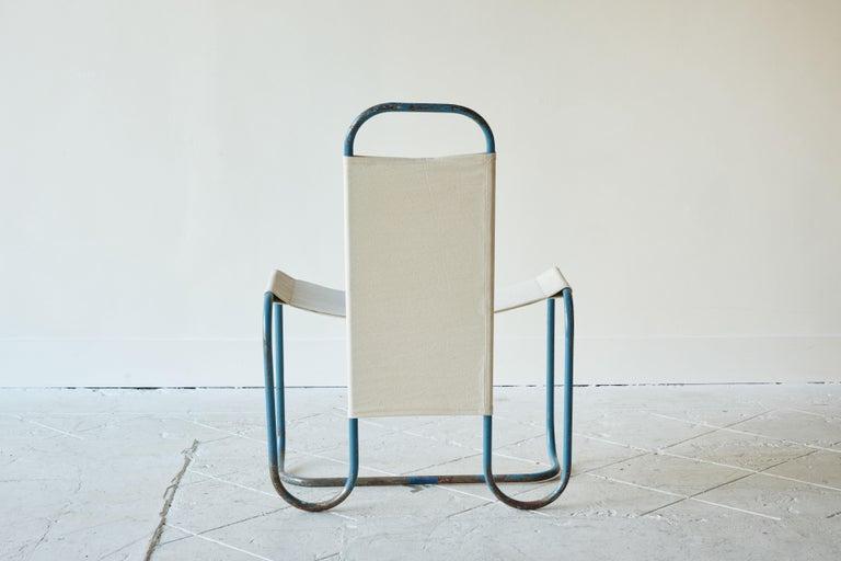 Blue Metal Bauhaus Sling Chair For Sale 2