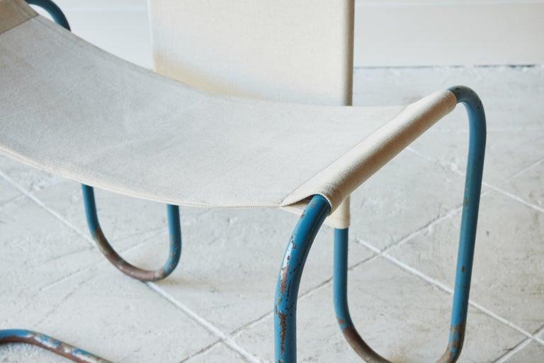Blue Metal Bauhaus Sling Chair For Sale 5