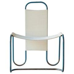 Blue Metal Bauhaus Sling Chair