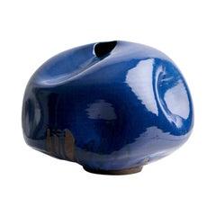 Blue Mid-Century Modern Handmade Ceramic Vase / Wabi Sabi Interior Sculpture