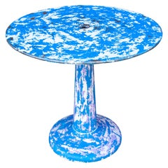 Blue Midcentury French Metal Tolix G-Table by Xavier Pauchard