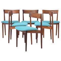 Blue Model 39 Dining Chairs by Henry Rosengren Hansen for Brande Møbelfabrik