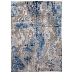 Blue Modern Abstract Wool and Silk Handmade Rug