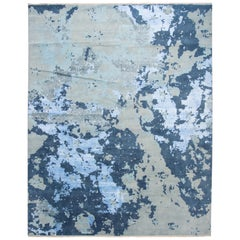 Blue Modern Abstract Wool and Silk Rug