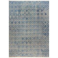 Blue Modern Flat-Weave Rug