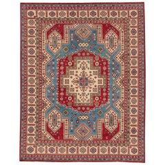 Blue Modern Kazak Handmade Wool Rug
