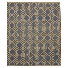 Blue Modern Kilim Rugs Geometric Carpet Wool Scandinavian Rug
