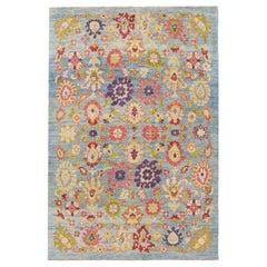 Blue Modern Oushak Handmade Wool Rug