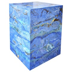 Blue Modern Side Table Marbled Scagliola Monolith Handmade Surface Art Design