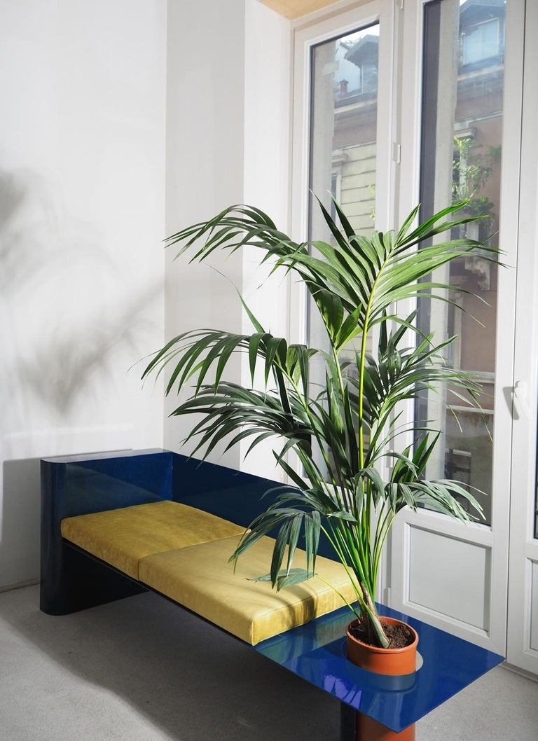 Velvet  Blue Modern Sofa in Powder-Coated Steel with Planter Side Table For Sale