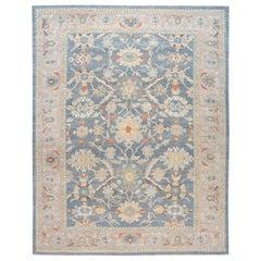 Blue Modern Sultanabad Handmade Oversize Wool Rug