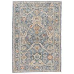 Blue Modern Sultanabad Handmade Wool Rug