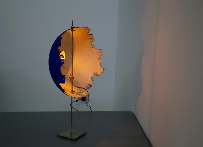 Blue Modern Table Lamp by Cattellani & Smith Mod. Postkrisi T 40, Signed 2000s For Sale 7