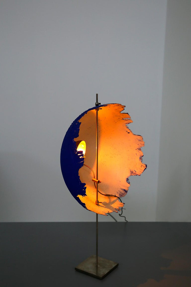 Italian Blue Modern Table Lamp by Cattellani & Smith Mod. Postkrisi T 40, Signed 2000s For Sale