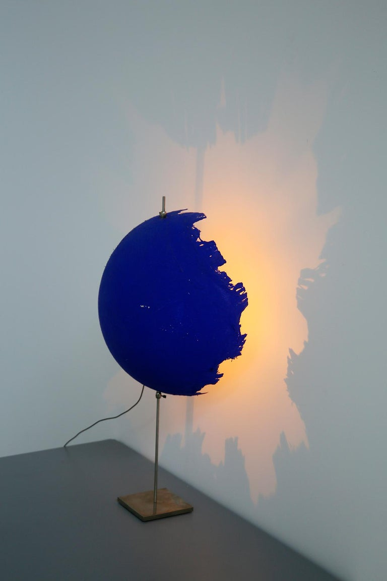 Contemporary Blue Modern Table Lamp by Cattellani & Smith Mod. Postkrisi T 40, Signed 2000s For Sale