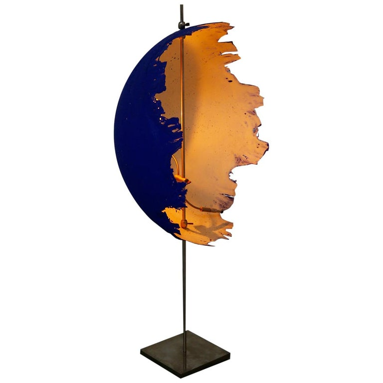 Blue Modern Table Lamp by Cattellani & Smith Mod. Postkrisi T 40, Signed 2000s For Sale