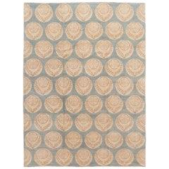 Blue Modern Tibetan Handmade Wool Rug