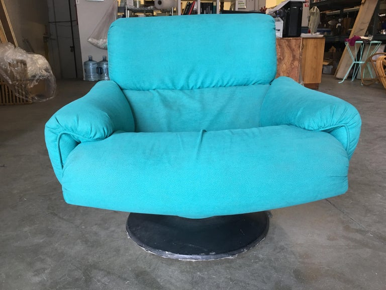 Steel Blue Modernist Swivel Lounge Chair by Arconas, 2 Available For Sale